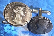 Ancient Roman Warrior Emperor Trajan Silver Tone Rome Coin Cufflinks + Gift Box!