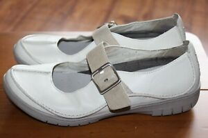 CLARKS UNSTRUCTURED SIZE UK 8 D LADIES CREAM LEATHER MARY JANE COMFORT SHOES VGC
