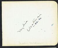 Nydia Westman (d. 1970) signed autograph 4x5 Album Page TV's Dragnet / That Girl