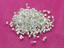 Wholesale 500 Silver Plated Cord End Crimp Beads Tube 2mm