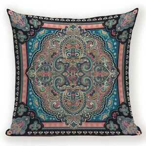 Moroccan Indian Cushion Cover. Pink, Blue, Teal, Yellow