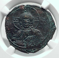 JESUS CHRIST Class A3 Anonymous Ancient 1020AD Byzantine Follis Coin NGC i80783