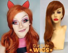 DELUXE LONG WAVY GINGER ORANGE COPPER RED HEAT RESISTANT FASHION WIG