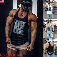 Men Gym Muscle Bodybuilding Sleeveless t Shirt Tank tee Top Singlet Fitness Vest