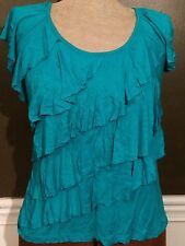 Womens Blouse T-Shirt Blue Frills Slimming Fun Cool Summer Fashion P/S Petite M