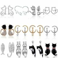 Women Asymmetric Charm Pearl Cute Cat Kitten Stud Earring Party Dance Party Hot