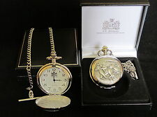 HORSE RACING JOCKEY ENGLISH PEWTER FACED POLISHED POCKET FOB WATCH & CHAIN & BOX