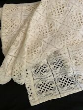 """VINTAGE Lace Shower Curtain/Tablecloth Beige Made USA 66 X 72"""""""