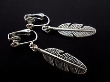 A PAIR OF TIBETAN SILVER FEATHER CLIP ON EARRINGS. NEW..