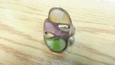 Beautiful Orange Green Purple Dyed MOP Ring 925 Sterling Silver Size 8 E879