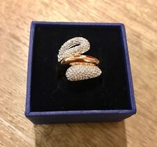 New Swarovski Rose Gold Every Wide Ring Size 8 58 White Crystals 5221555 $169