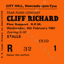 Cliff Richard Concert ticket high quality coaster 4th February 1981