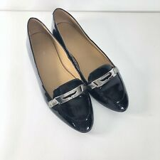 Coach Ruthie Womens Sz 8B Black Patent Leather W Silver Buckle Flats Espadrille