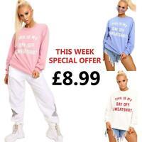 Ladies Womens Retro Vintage This Is My Day Off Slogan Fleece Sweatshirt Jumpers