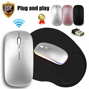 Wireless Optical Mouse Rechargeable LED Mice / Mousepad for Macbook Laptop PC