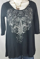 Katydid Top Size Small Western Wear Crystal Bling Black Fleur Women Shirt Blouse