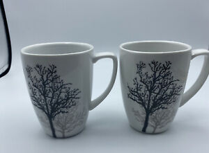 2 Corelle Coordinates TIMBER SHADOWS Porcelain Square Coffee Mugs Trees 12oz Cup