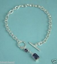 925 STERLING SILVER AMETHYST CZ CHARM T-BAR Link Chain BRACELET Girls B'day GIFT