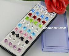 Wholesale 40pcs Silver square Pierced CZ Stud Earrings 5mm
