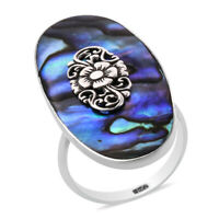 925 Sterling Silver Abalone Shell Flower Elongated Ring Jewelry Gift for Women