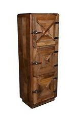 INDIAN HANDMADE 3 DOOR WOODEN CABINET CUPBOARDS STORAGE REFRIGERATION UNIT