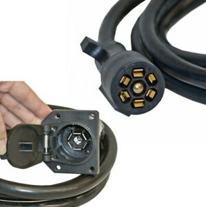 7 ft 7-Way Trailer Extension Cord Wire 7 Pin Connector Plug RV Camper Gooseneck
