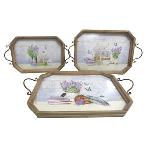 Chic Lavender Design Set of 3 Wooden Serving Trays, Suitable for Decoration