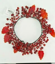 2PCS Pottery Barn Red Glass Pepper berry w Leaves Candle rings wreaths - NEW