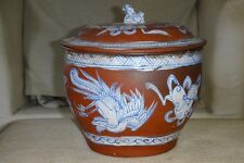 RARE CHINESE ANTIQUE TERRACOTTA REDWARE POT & LID COVER BLACK AND WHITE PAINTED