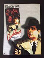 Vintage Casablanca Tin Metal Sign Poster Wall Hanging Humphrey Bogart