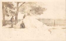 Nashua Iowa~Kids Snow Fort~Sled~Valentine Genevieve to Keith Conklin~1910 RPPC