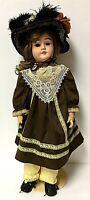 "Antique Kley & Hahn Special 65 German Bisque 25"" Composition Doll Brunette Girl"