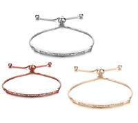 Silver Rose Gold Plated Adjustable Crystal Tennis Friendship Fashion Bracelet CZ