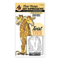 Art Impressions Twist Ties Giraffe Clear Acrylic Stamp & Die Set 4986 NEW!