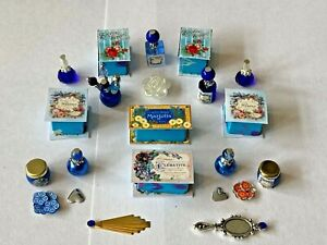 SHABBY CHIC BLUE ACCESSORIES FOR A 1/12 SCALE DOLLS HOUSE