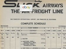 SLICK AIRWAYS 12/1962 SCHEDULE & AD SAN FRANCISCO-NORFOLK-INDIANAPOLIS L-1049H
