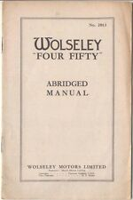 Wolseley  Four Fifty Abridged Manual Ref 2013 1949