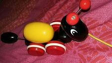 classic baby Brio ant wooden pull along toy figure on wheels with egg used
