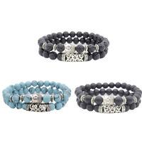 Fashion Natural Black Lava Rock Stone Beaded Bracelet Charm Buddha Bracelet