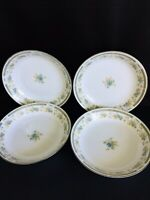 4 Sango Four Crown Barclay 519 Blue Yellow Floral Coupe Soup Cereal Bowl 7.5""