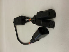 """Y Power Cord Cable (1-C14 to 2-C13) Splitter 18"""" Long Each Lead 6"""" 10A 125V"""