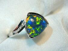 Opal Ring Ladies Sterling Silver 925 & CZ, 10 x 10mm Trillion Triplet. #070194