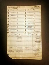 08/12/82 San Diego Padres Dugout Lineup Card Mlb Authentic Atlanta Braves