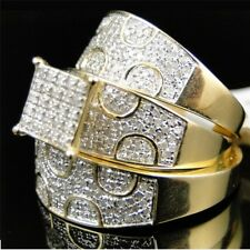 His & Hers Diamonds Trio Sets Wedding Band Engagement Rings 14k Yellow Gold Over
