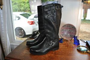 Tall Frye Veronica Slouch Boots Black Leather $425 Biker Harness Women 8.5 M