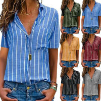 Women's V-neck Shirt Casual Short Sleeve T Shirt Ladies Print Striped Blouse Top