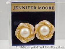 Jennifer Moore Pearl and Pink Ribbon Halo Clip Earrings NOS