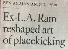 BEN AGAJANIAN 1919 - 2018 OBITUARY FOOTBALL PLAYER L. A. RAM ART PLACEKICKING