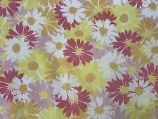 vtg Retro Mod 60s TWIN FLAT Sheet Pequot percale Pink floral Flower Power fabric