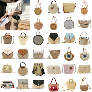 Straw Shoulder Bag Rattan Round Crossbody Summer Beach Messenger Handbags LOT